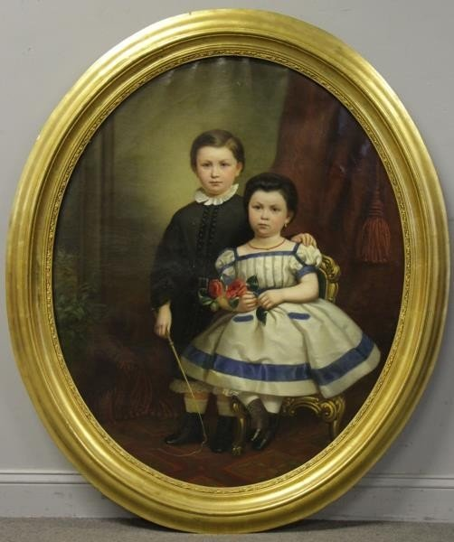 19th C. Oil on Canvas. Portrait of Two Children. - 2