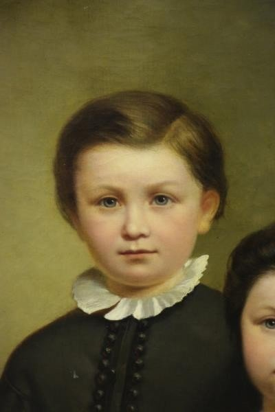 19th C. Oil on Canvas. Portrait of Two Children. - 3