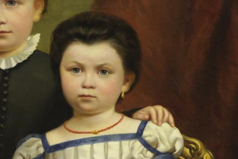 19th C. Oil on Canvas. Portrait of Two Children. - 4