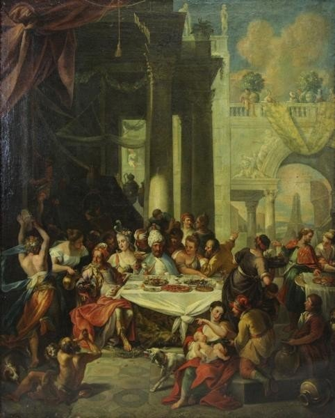 18th C. Italian Oil on Canvas Banquet Scene.
