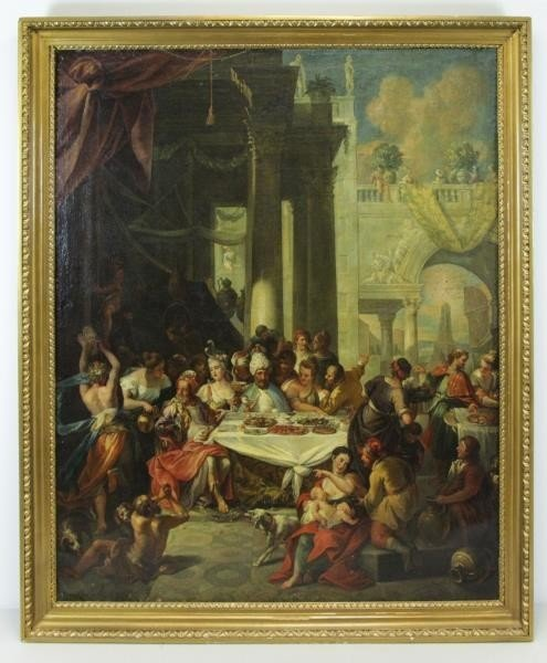 18th C. Italian Oil on Canvas Banquet Scene. - 2