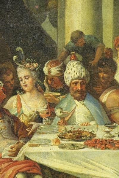 18th C. Italian Oil on Canvas Banquet Scene. - 3