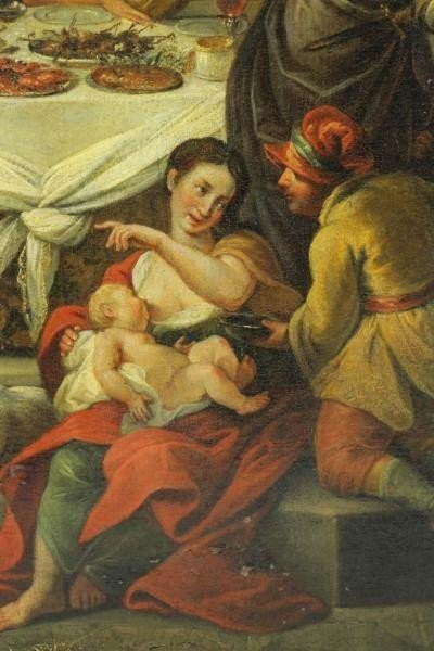 18th C. Italian Oil on Canvas Banquet Scene. - 4