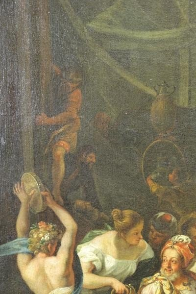 18th C. Italian Oil on Canvas Banquet Scene. - 6