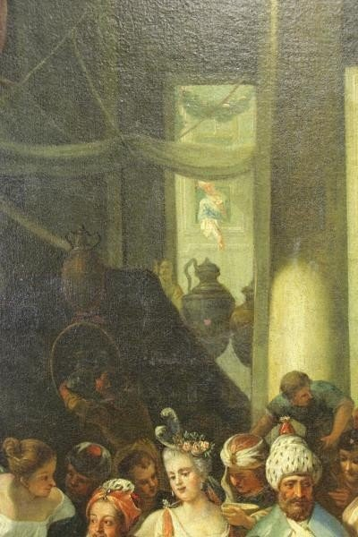 18th C. Italian Oil on Canvas Banquet Scene. - 7
