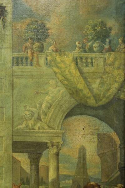 18th C. Italian Oil on Canvas Banquet Scene. - 9
