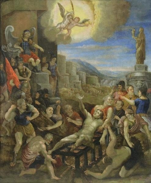 18th/19th C. Oil on Copper. The Martyrdom of Saint