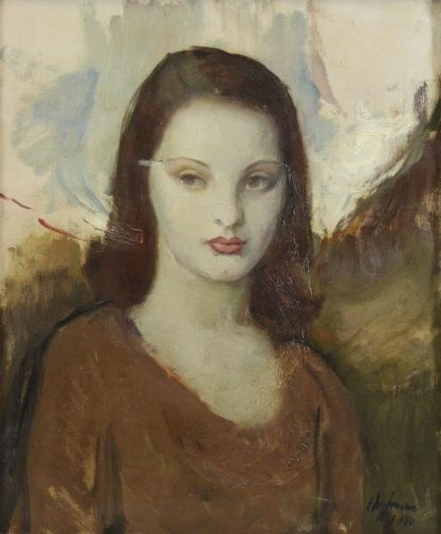 HOFFMAN. Oil on Canvas. Portrait of a Girl, 1930.