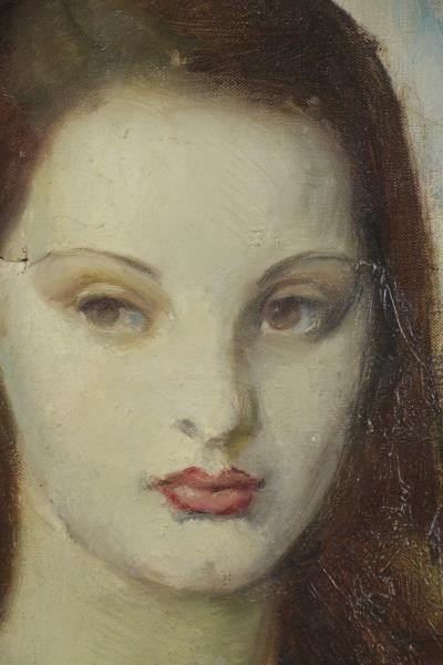 HOFFMAN. Oil on Canvas. Portrait of a Girl, 1930. - 3