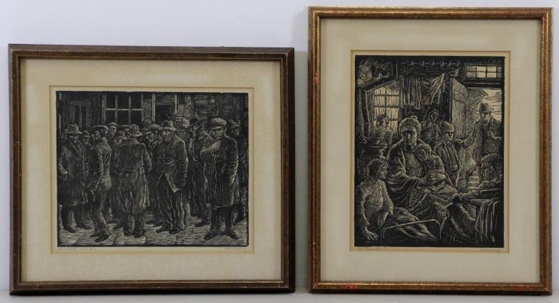 ABRAMOVITZ, Albert. Two Signed Woodcut Prints.