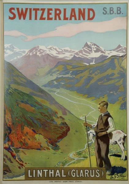 """BILLE, Edmond. Color Lithograph """"Switzerland /"""