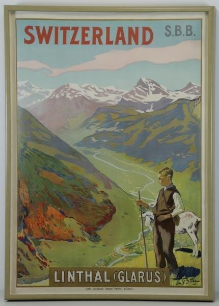 """BILLE, Edmond. Color Lithograph """"Switzerland / - 2"""