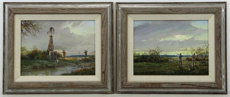 """ROBINSON, James. Pair of Oils on Panel. """"In the"""