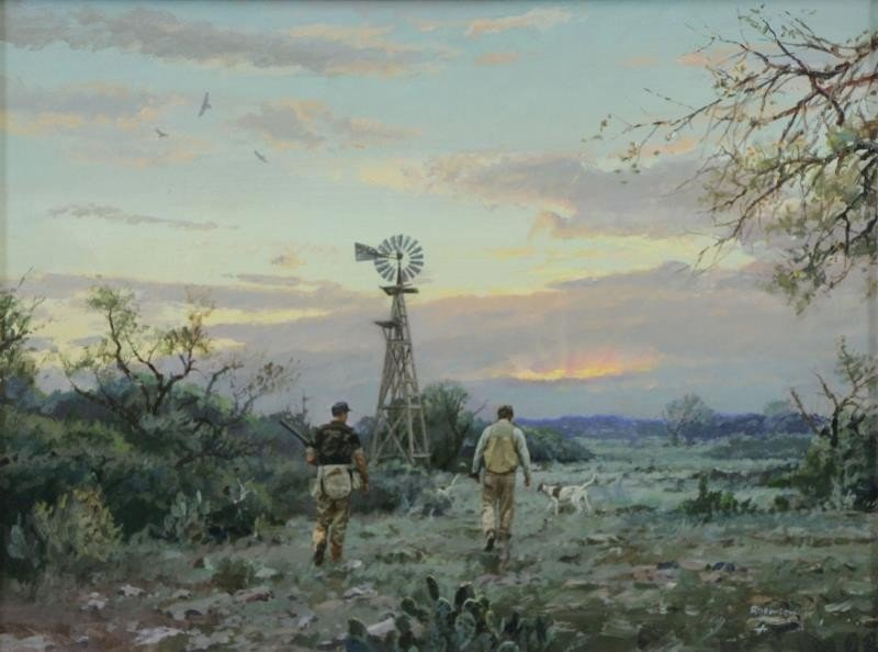 "ROBINSON, James. Oil on Panel. ""Last Covey""."