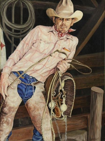 "BIRKBECK, Tom. Oil on Board. ""Cowboy""."