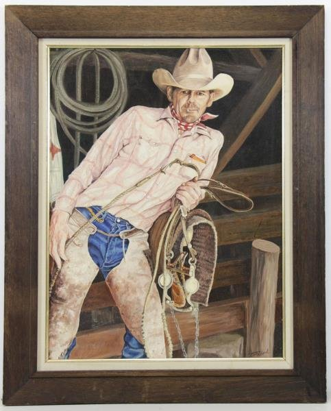 "BIRKBECK, Tom. Oil on Board. ""Cowboy"". - 2"