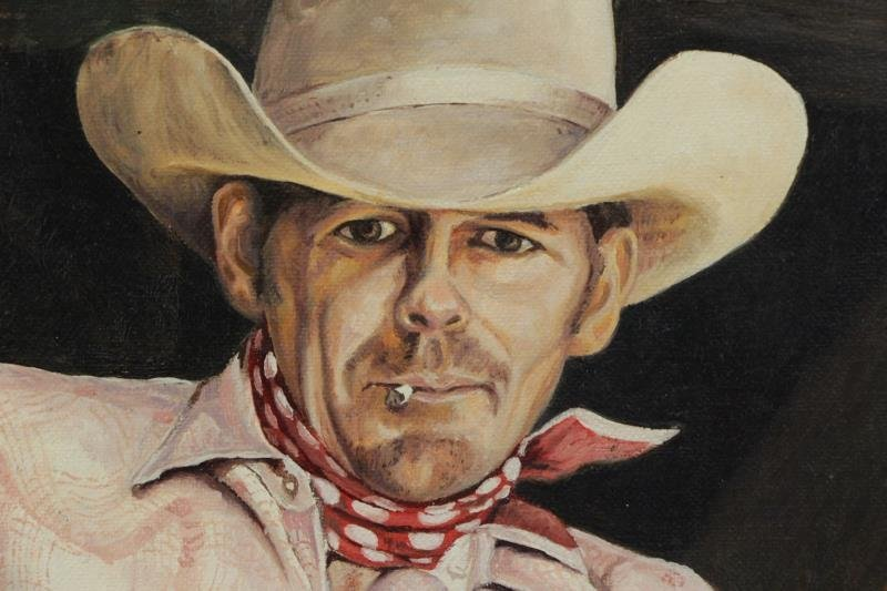 "BIRKBECK, Tom. Oil on Board. ""Cowboy"". - 3"
