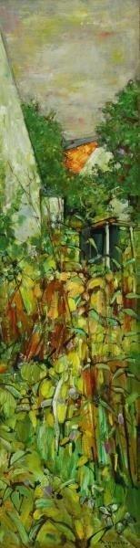 VIGNOLES, Andre. Oil on Canvas. Garden Landscape