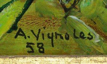 VIGNOLES, Andre. Oil on Canvas. Garden Landscape - 4