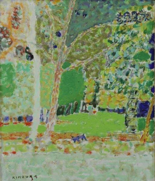 """KIMOURA. Oil on Canvas. """"Bois de Boulogne"""" 1956."""