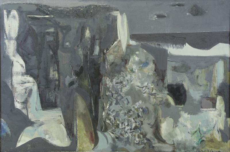 "BUNCE, Louis. Oil on Canvas ""Sea Cliffs"" 1953."