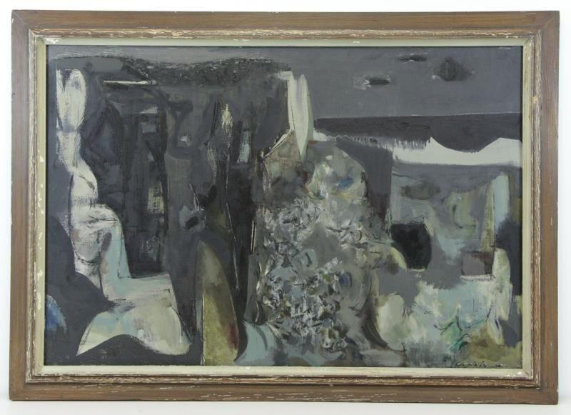 "BUNCE, Louis. Oil on Canvas ""Sea Cliffs"" 1953. - 2"