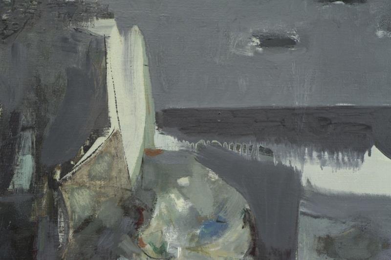 "BUNCE, Louis. Oil on Canvas ""Sea Cliffs"" 1953. - 3"