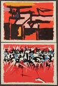 SAVELLI, Angelo. Two Abstract Color Lithographs.