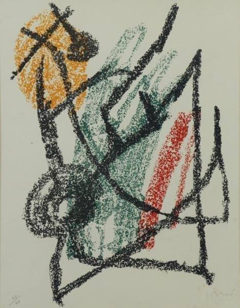 "MIRO, Joan. Color Lithograph ""Je Travaille Comme"