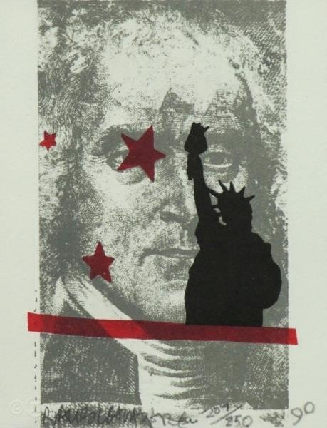 "RAUSCHENBERG, Robert. Lithograph ""Spackle""."