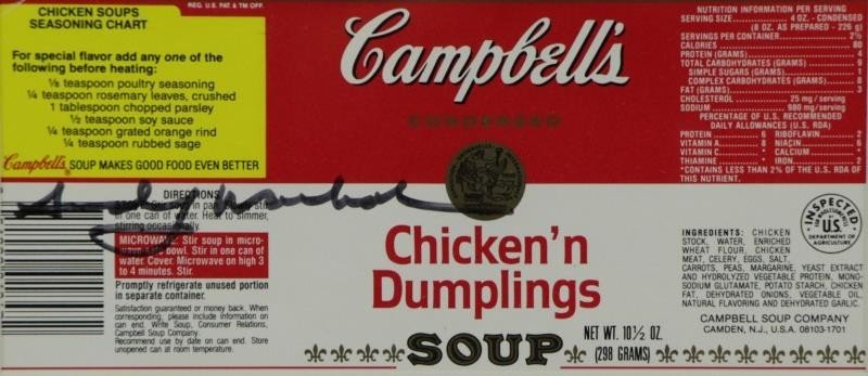 WARHOL, Andy. Signed Campbell's Chicken'n