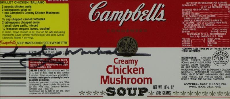 WARHOL, Andy. Signed Campbell's Chicken Mushroom