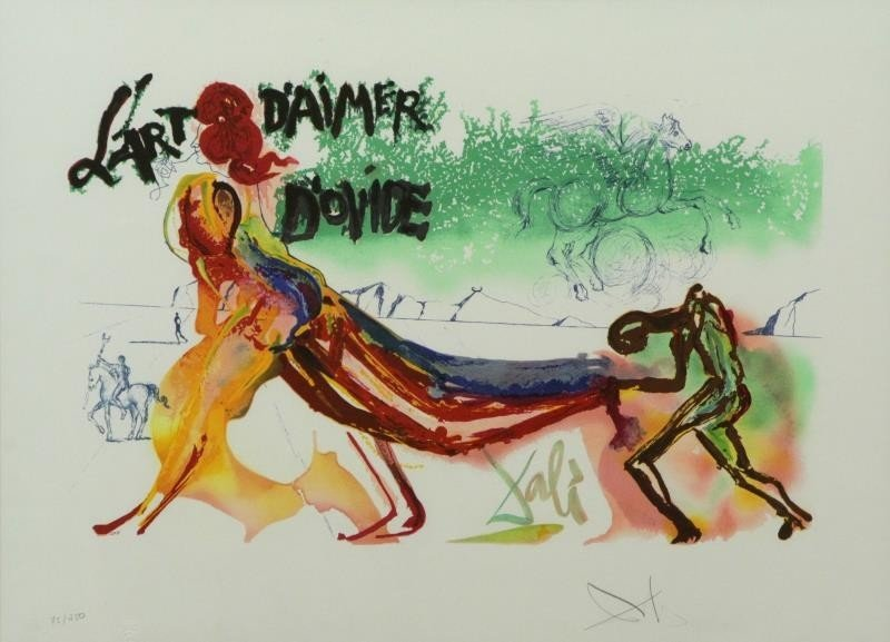 "DALI, Salvador. Color Lithograph. ""l'Art d'Aimer"
