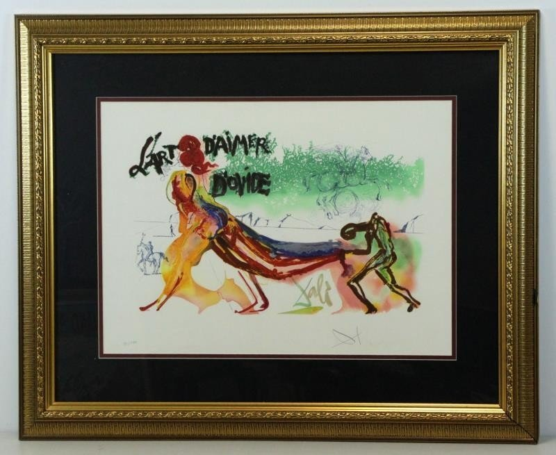 "DALI, Salvador. Color Lithograph. ""l'Art d'Aimer - 2"