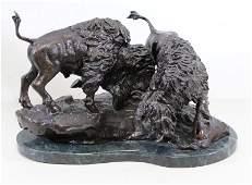 JOHNSON Stanley Bronze Sculpture of Two Bison