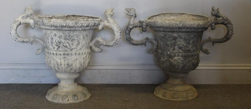 Pair of Antique 2 Handled Lead Urns.