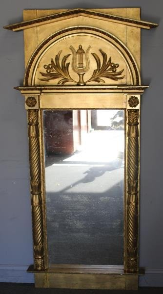 Antique Classical Gilt Wood Carved Pier Mirror