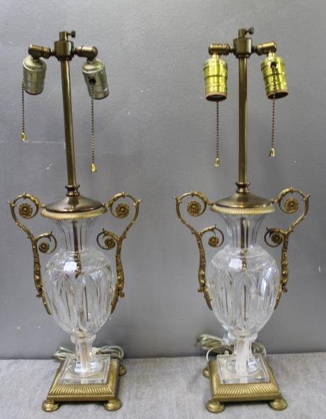 Pair of Fine Quality Cut Glass Gilt Metal Mounted