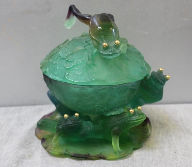 DAUM. Signed Art Glass Lidded Bowl with