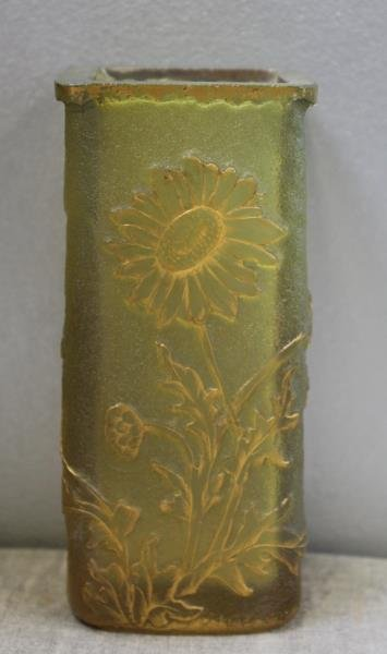 DAUM,Nancy. Signed Art Glass Vase with Gilt Floral