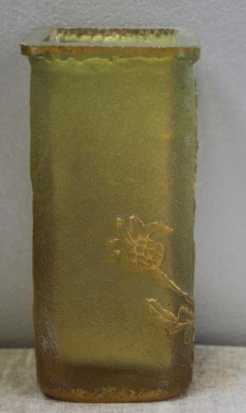DAUM,Nancy. Signed Art Glass Vase with Gilt Floral - 2