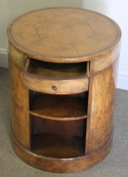 Mahogany Flip Top Table with a Leathertop Drum - 4
