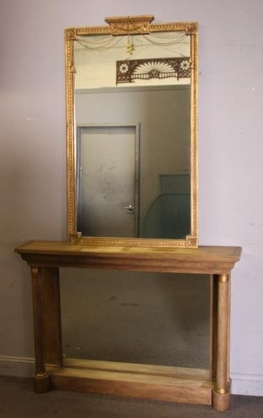 BAKER, Signed Console and Mirror.