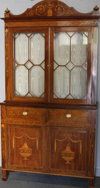 Finest Quality Antique Marquetry Inlaid Bookcase