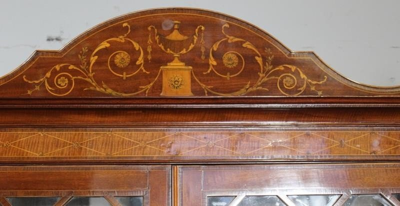 Finest Quality Antique Marquetry Inlaid Bookcase - 2