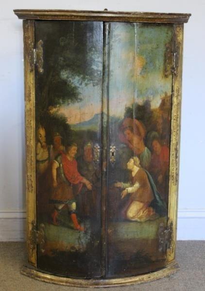 Antique Finely Painted 2 Door Corner Cabinet