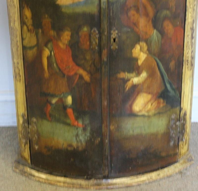 Antique Finely Painted 2 Door Corner Cabinet - 2