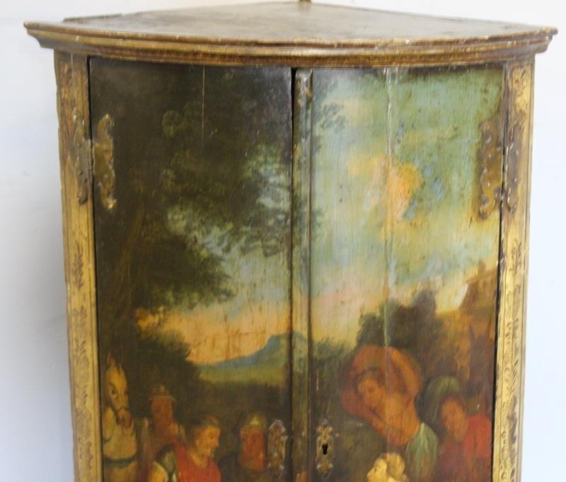 Antique Finely Painted 2 Door Corner Cabinet - 3
