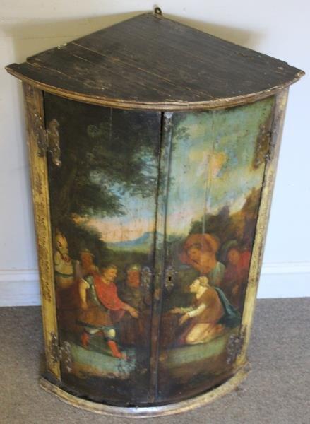 Antique Finely Painted 2 Door Corner Cabinet - 4