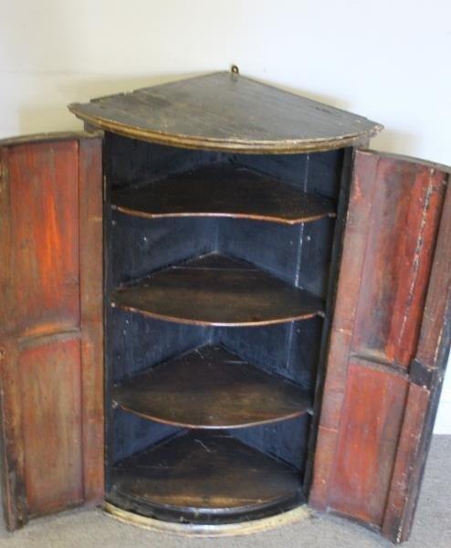 Antique Finely Painted 2 Door Corner Cabinet - 5
